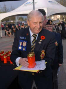 PW Slade with Candles for Veterans Private Rushbrook & Trooper Rushbrook photo: Cathy St. John