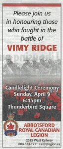 2017 Vimy Ridge Day Advert cr