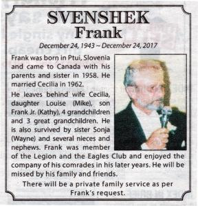 2018 01 15 Frank Svenshek Obituary