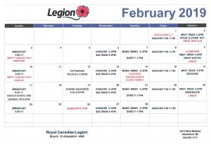2019 02 01 February Calendar